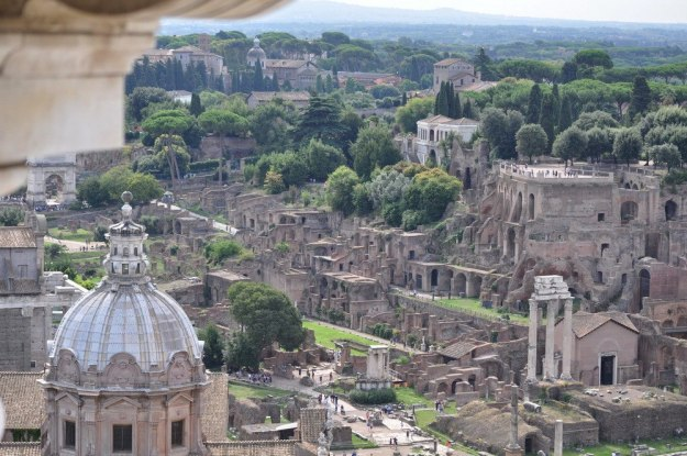 View of the Palatine Hill and Roman Forum, Rome, Italy