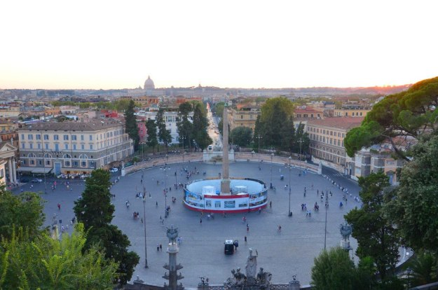Piazza del Popola square viewed from Pincian Hill at sunset, Rome, Italy