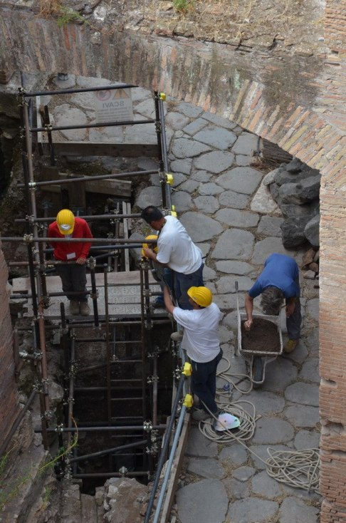 Workers at the Roman Forum, Rome, Italy