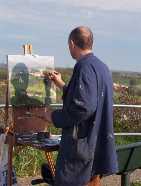artist paints scene of domburg from hill top, the netherlands