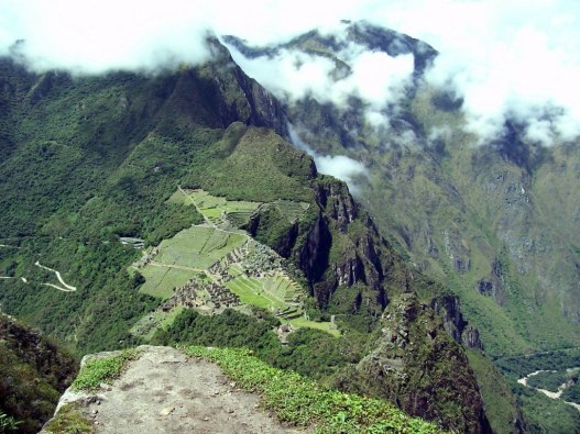 machu picchu seen from atop huayna picchu, peru