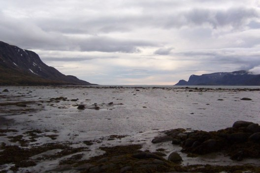 Rain clouds over Pangnirtung Fjord on Baffin Island, Nunavut, Canada.