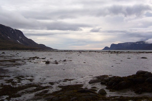 photograph of rain clouds above pangnirtung fjord on Baffin Island, Nunavut, Canada.