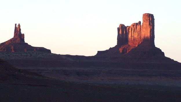 The King on His Throne Butte and Castle Butte in Monument Valley in Arizona, USA