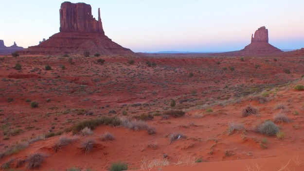 West Mitten and East Mitten Buttes in the desert in Monument Valley, USA