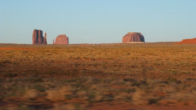 view of Monument Valley from highway in Arizona, USA
