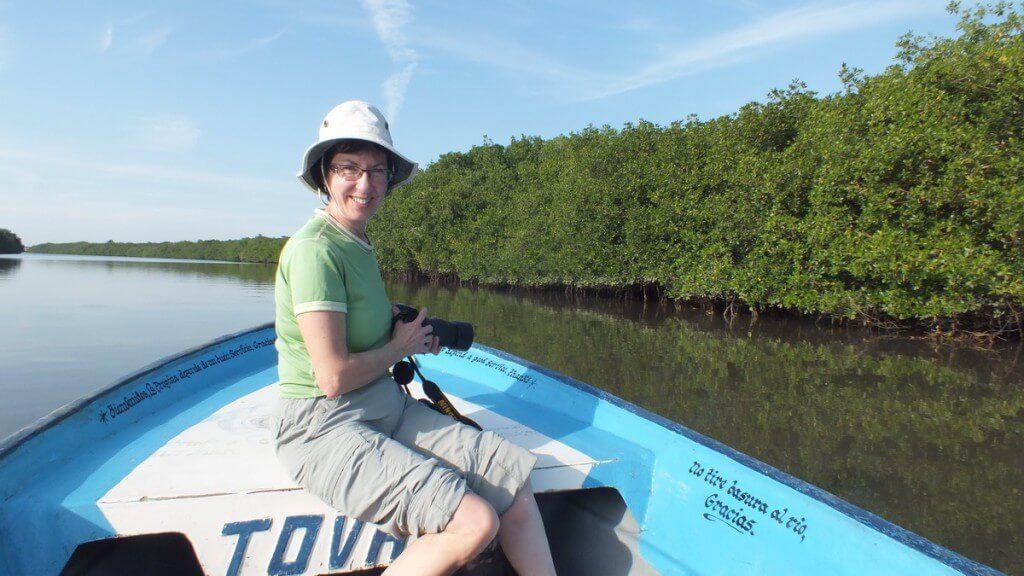 jean aboard boat, mangrove swamp, san blas, mexico