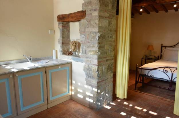 Interior of the stone farmhouse at Il Colombaio di Cencio, Gaiole, Chianti, Tuscany, Italy
