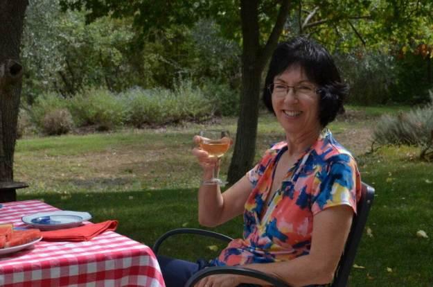 jean with wine at lunch at il colombaio di cencio vineyard, gaiole in chianti, itay