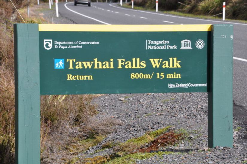 An image of the Tawhai Falls Walk sign in Tongariro National Park in New Zealand. Photography by Frame To Frame - Bob and Jean.