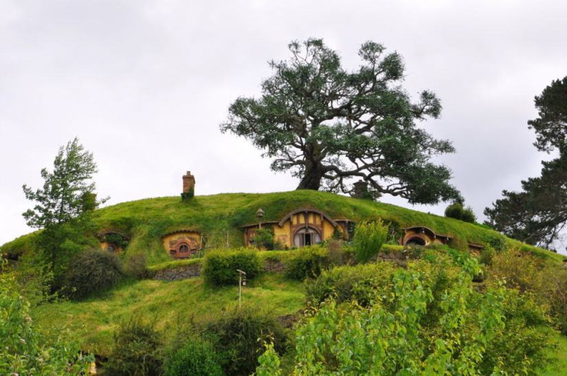 A closeup image of Bilbo Baggins home on Bag End at Hobbiton in New Zealand. Photography by Frame To Frame - Bob and Jean.