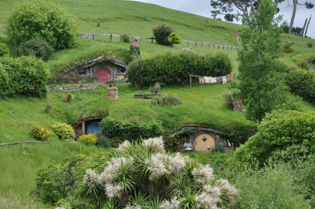 An image of various hobbit holes on the side of a green hills at Hobbiton in New Zealand. Photography by Frame To Frame - Bob and Jean.