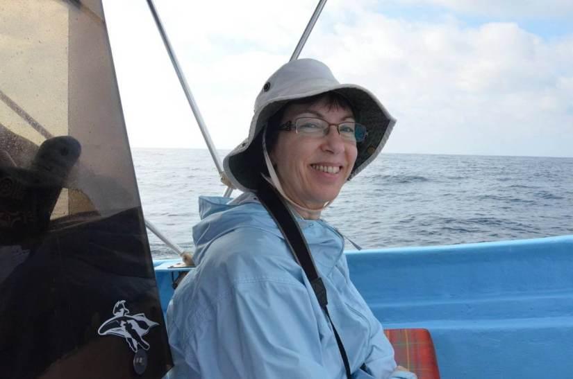 Jean aboard a boat, Isla Isabel, Mexico
