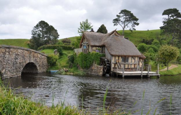 An image the old water mill at Hobbiton in New Zealand. Photography by Frame To Frame - Bob and Jean.