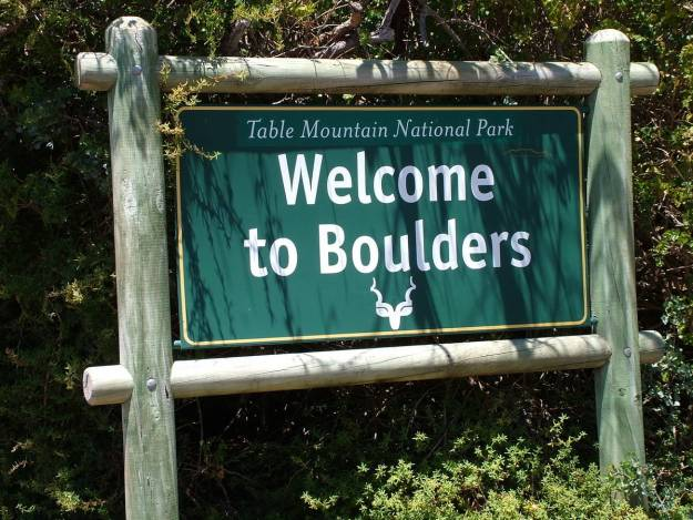 welcome sign at boulders beach, table mountain national park, south africa