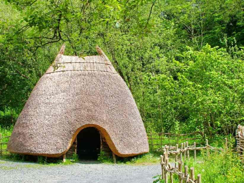 a thatched hut at Irish National Heritage Park in Ireland