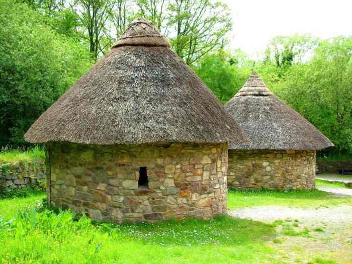 stone dwellings at Irish National Heritage Park, Ireland