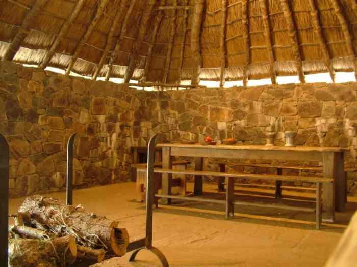 interior of an early Christian monastery at Irish National Heritage Park, Ireland
