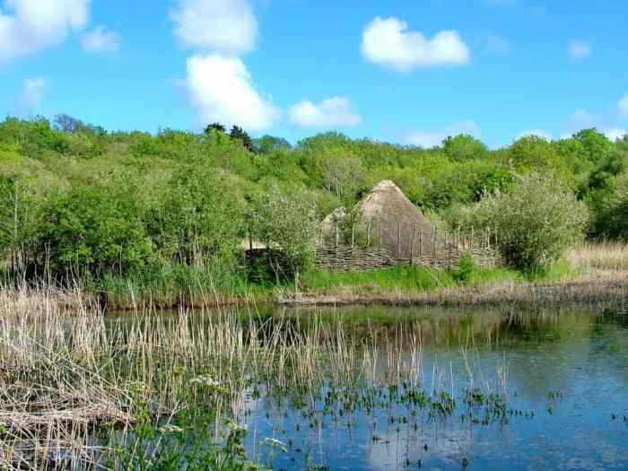 a Crannog at Irish National Heritage Park, Ireland