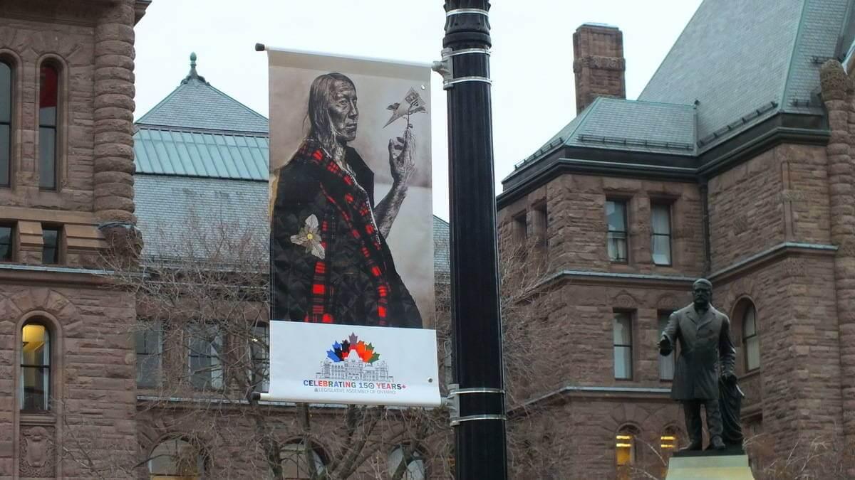 An Image Of A Commemorative Flag At Ontarios Legislative Building In Toronto Ontario Canada