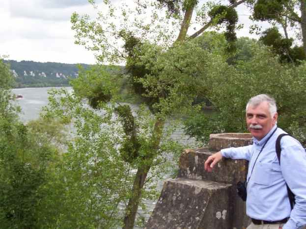 An image of Bob along the Seine River in France.