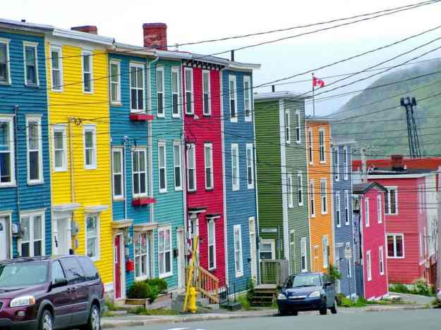 an image of candy-coloured houses in St. John's, Newfoundland, Canada