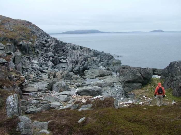rocks and cliffs on quirpon island, newfoundland, canada