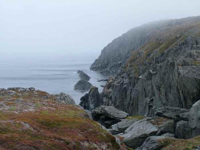 Rocky cliffs on quirpon island, newfoundland, canada
