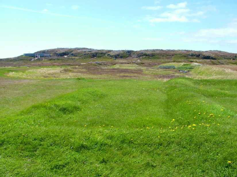 grassy mounds at l'Anse aux Meadows, Newfoundland, Canada