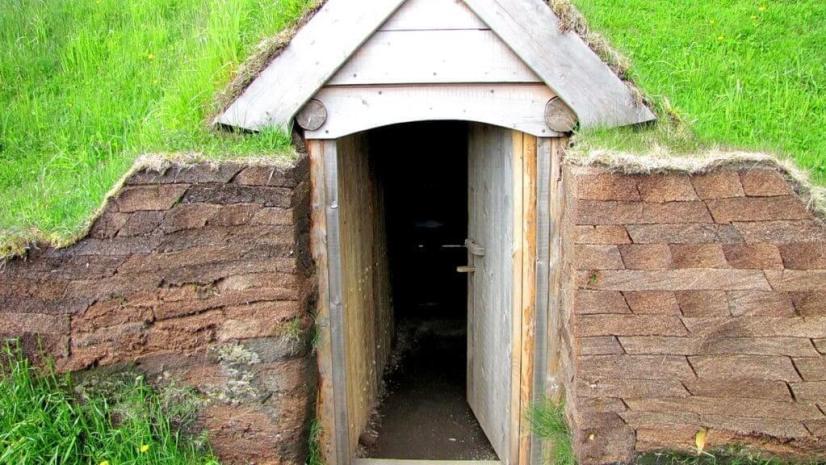 gabled entrance door at l'anse aux meadows, newfoundland, canada
