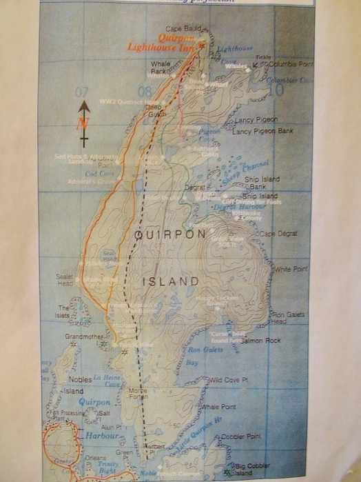 map of quirpon island, newfoundland, canada