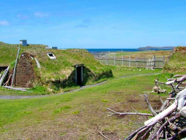 re-created longhouse at l'anse aux meadows, newfoundland, canada