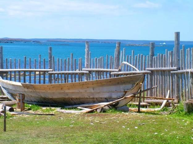 a viking boat at l'anse aux meadows, newfoundland, canada