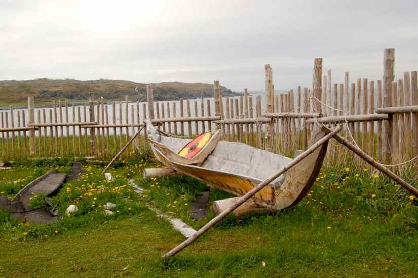 a viking boat at l'anse aux meadows, newfoundland, canada