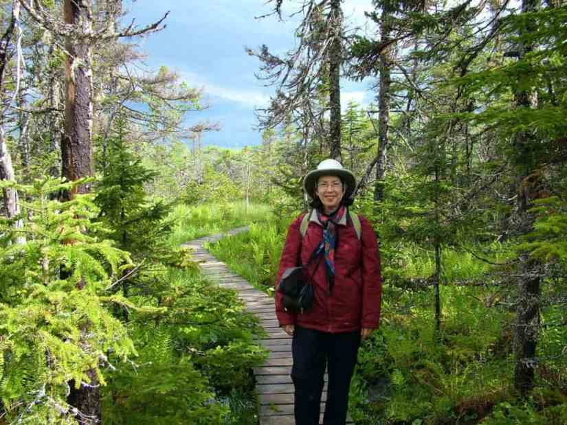 jean along baker's brook falls hiking trail in gros morne national park, newfoundland