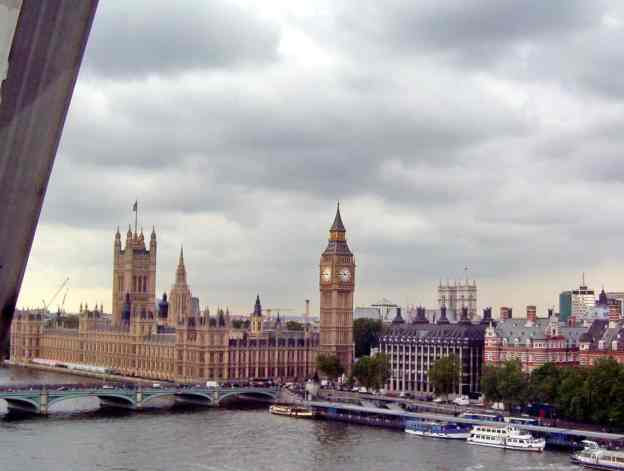 An image of Westminster Hall from the Millennium Wheel or the London Eye in London, England.