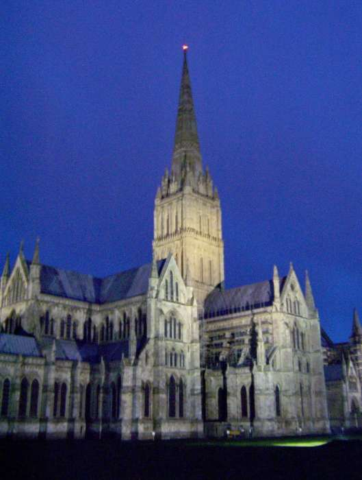 Image of Salisbury Cathedral at night in England.