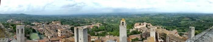 Panoramic image of San Gimignano, Italy.