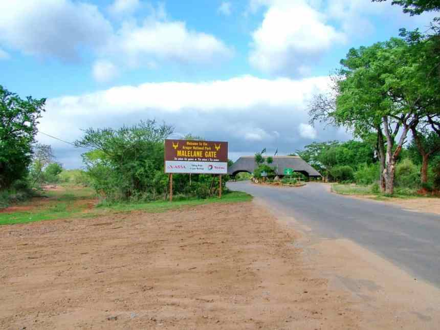 a rear view of melalane gate at kruger national park, south africa