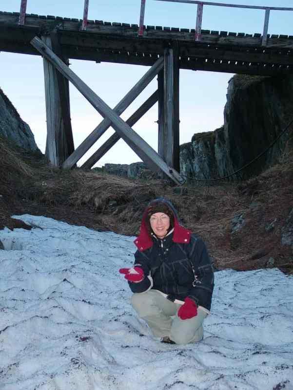 remnants of snow on quirpon island, newfoundland, canada