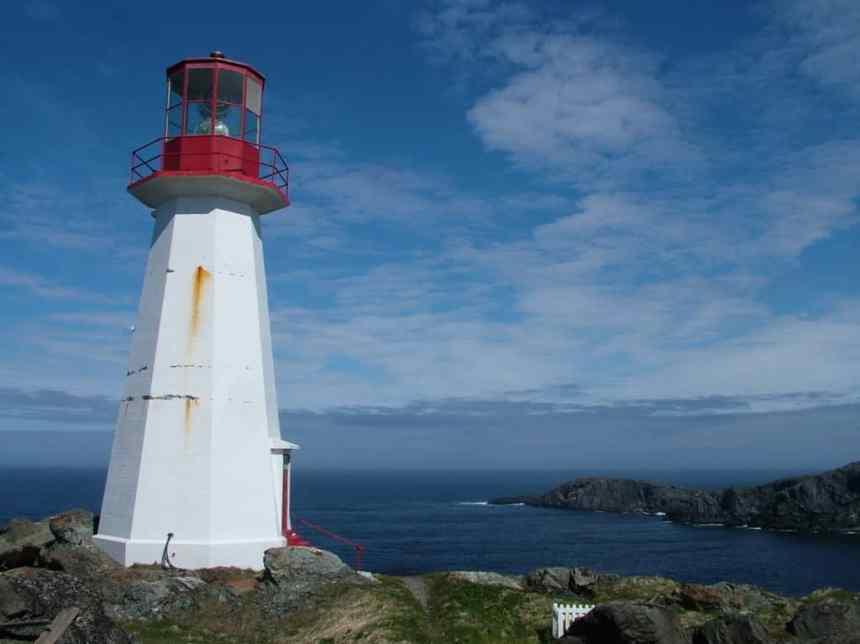 the lighthouse on quirpon island, newfoundland, canada