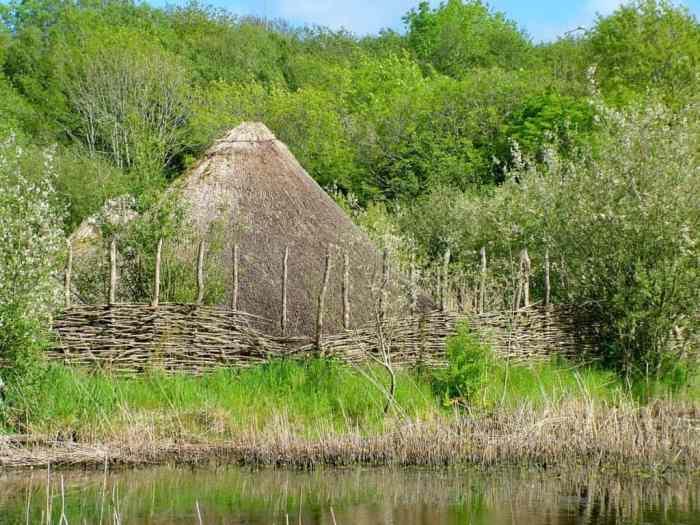 a Crannog on a man-made island at Irish National Heritage Park, Ireland