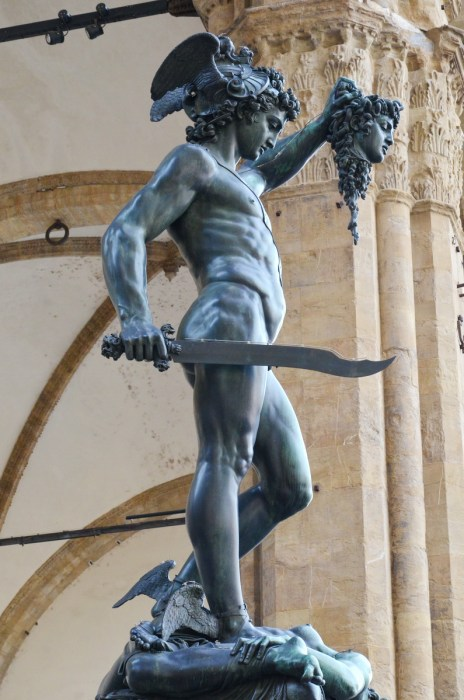 sculpture of perseus with the head of medusa, florence, italy