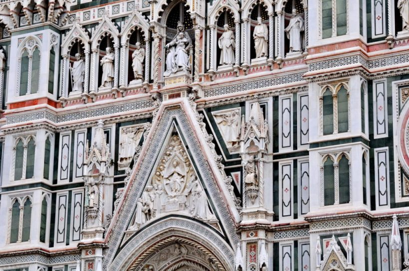 marble work on florence cathedral, florence, italy