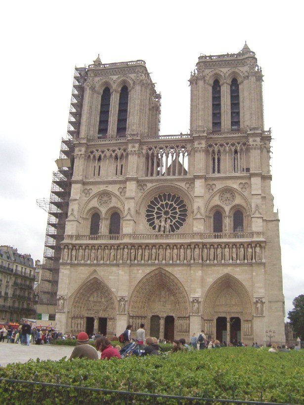 western facade of notre dame cathedral, paris, france