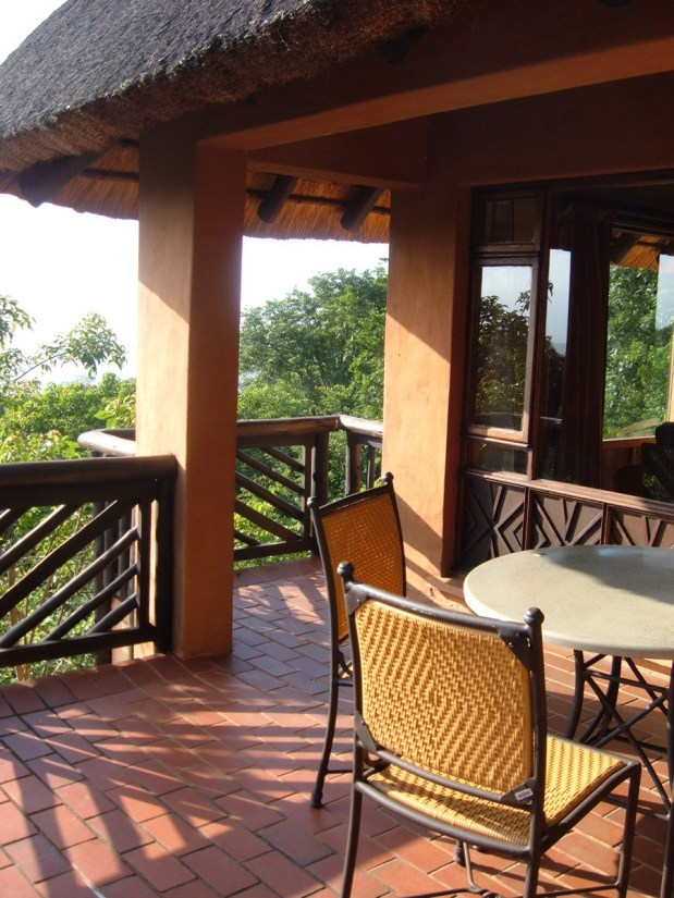 cabin balcony at hilltop camp, hluhluwe-imfolozi, south africa