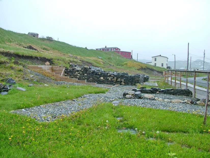stone foundations, at the archaeology dig, lost colony of avalon, newfoundland, canada