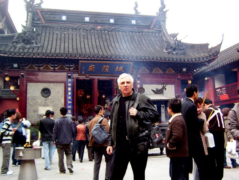 Bob standing in the main courtyard of the City God Temple of Shanghai in China.