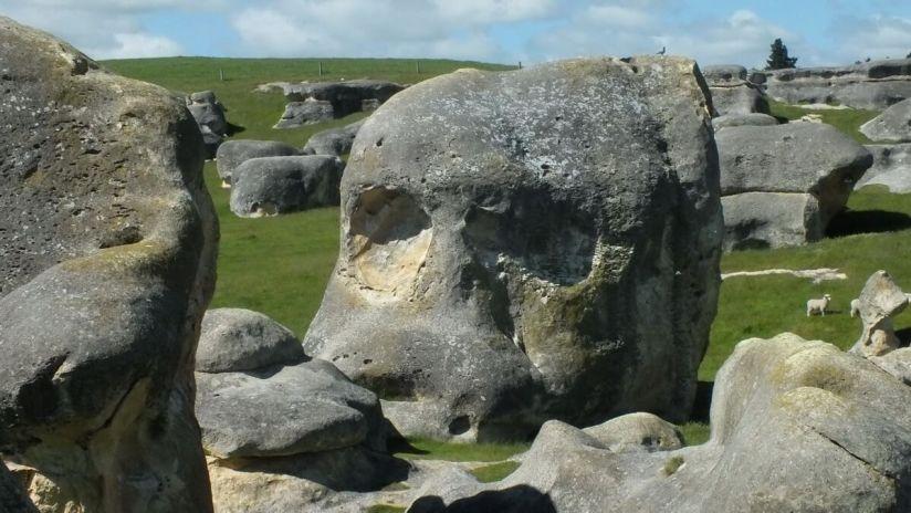 an elephant rock that resembles a skull, duntroon, new zealand