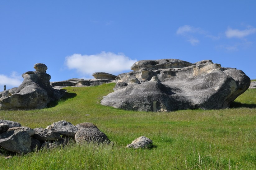 elephant rocks in a pasture, duntroon, new zealand